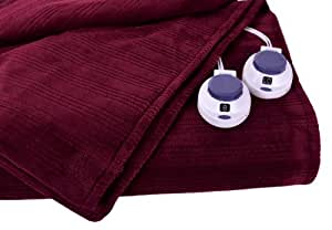 Soft Heat Ultra Micro-Plush Low-Voltage Electric Heated Triple-Rib King Size Blanket, Garnet Red