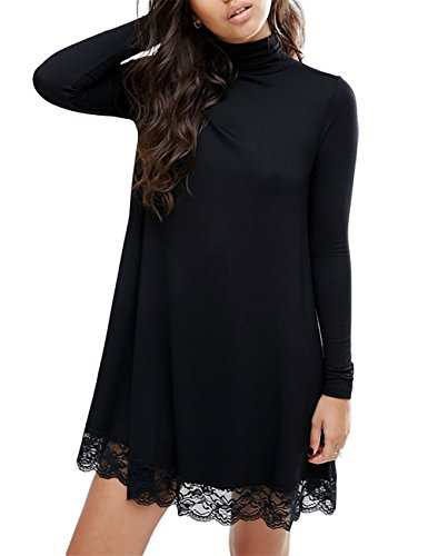 Leadingstar Women Knitting Turtleneck Long Sleeve Loose Lace Spliced Cotton Casual T Shirt Dress- XL