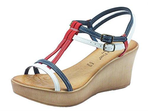 Sandali per donna Mercante di Fiori in pelle multicolore bianco blu rosso (Taglia 38)