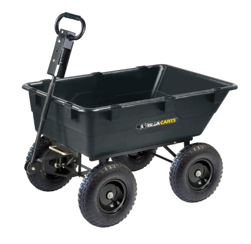 Gorilla Carts GOR866D Heavy-Duty Garden Poly Dump Cart with 2-In-1 Convertible Handle, 1,200-Pound Capacity, 40-Inch by 25-Inch Bed, Black Finish (Trailer Cart compare prices)