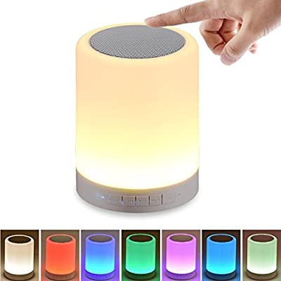 Night Light with Bluetooth Speaker, SHAVA Portable Wireless Bluetooth Speaker Touch Control Color LED Bedside Table Lamp, Speakerphone / TF Card / AUX-IN Supported (White)