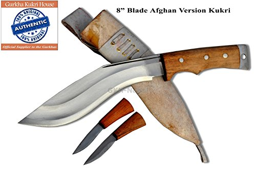 "Authentic Gurkha Kukri Knife - 8"" Blade AEOF Afghan Smaller Version Kukri White Sheath Handmade by Gurkha Kukri House in"