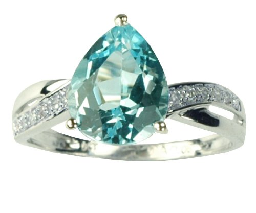 9ct White Gold Diamond And Teardrop Sky Blue Topaz Ring