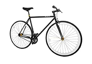 Pure Fix Cycles Fixed Gear Single Speed Urban Fixie Road Bike, 58cm/ Large, Mike Black/ White