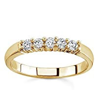 14k White Gold or Yellow Gold Five-Stone Diamond Band (H/I1, 1/4 ct. tw.)