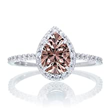 buy 1.5 Carat Classic Pear Cut Morganite With Diamond Celebrity Engagement Ring On 10K White Gold