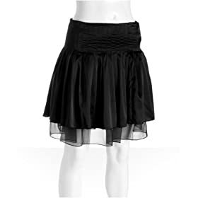 Black Satin Pleated Mini