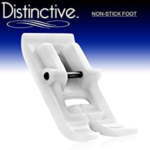 Distinctive Non-Stick Sewing Machine Presser Foot - Fits All Low Shank Snap-On Singer*, Brother, Babylock, Euro-Pro, Janome, Kenmore, White, Juki, Home, Simplicity, Elna and More! by Distinctive