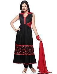 Utsav Fashion Women's Black Cotton Readymade Anarkali Churidar Kameez-Small - B015UDM43C