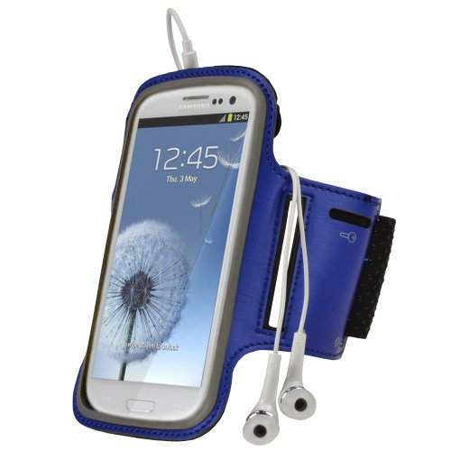 Igadgitz Blue Reflective Anti-Slip Neoprene Sports Gym Jogging Armband For Samsung Galaxy S3 Iii I9300 Android Smartphone Cell Phone (Compatible With All Carriers Incl At&T, Sprint Nextel, T-Mobile & Verizon Wireless)