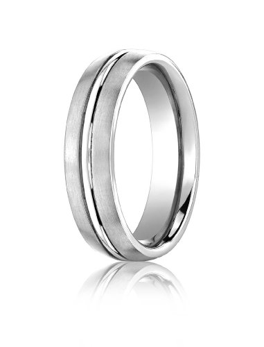 14K White Gold, 6mm Comfort-Fit Satin Polished Center Cut Band (sz 6.5)