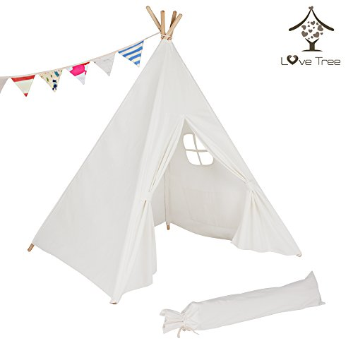 love tree Children Indina Cotton Canvas Teepee-pure White One Windows-preassemble