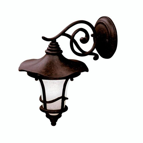 Kichler Lighting Kichler 9352AGZ Cotswold 1-Light Outdoor Wall Lantern, Aged Bronze with Weathered White Glass