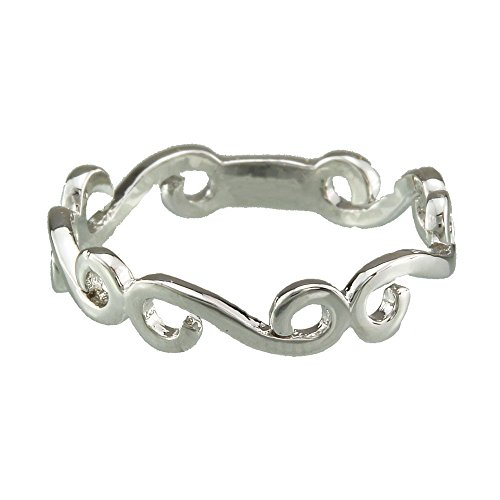 FM42 Silver-tone Swirl Pattern Hollow Band Ring R120 Size 9