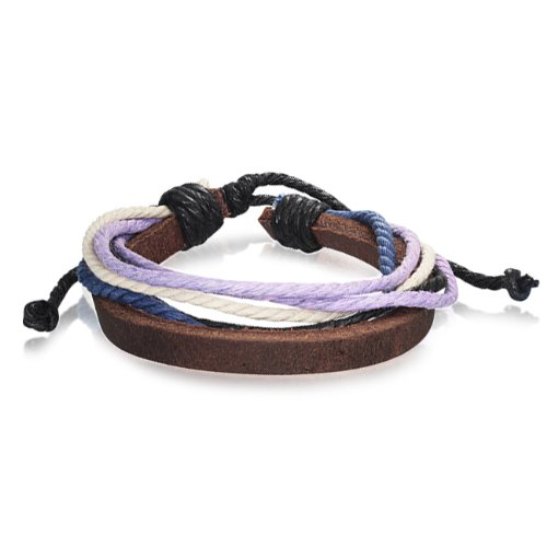 Bling Jewelry Leather with Purple Khaki Multi Cord Wrap Bracelet 9in