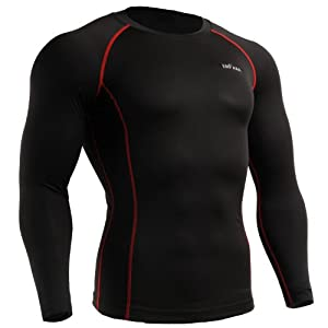 emFraa Homme Femme MMA Sport Compression Black Tight Base layer T-Shirt Long sleeve XS