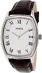 Fossil Men's Ansel FS4757 Brown Leather Quartz Watch with White Dial