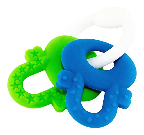 Teether - Baby Teething Toys - Soft Ring and Keys - BPA Free (Blue & Green)