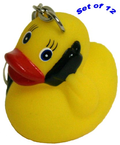 Rubber Ducks On The Go Keychain Gift Pack Of 12, Waddlers Brand Personality Themed Lively Mini On The Go Rubber Ducky