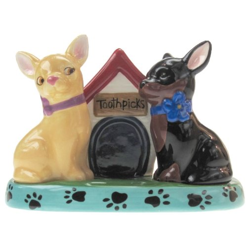 Westland Giftware Mwah Chihuahuas Magnetic Ceramic Salt and Pepper Shaker with Toothpick Holder Set, 3.25-Inch