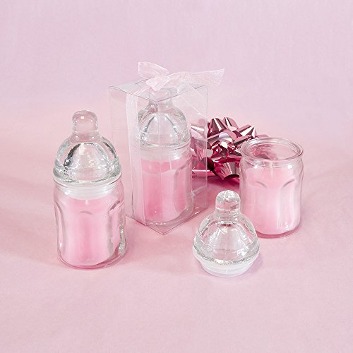 "Lunaura Baby Keepsake - Set of 12 ""Girl"" Glass Baby Bottle Scented Candle - Pink"
