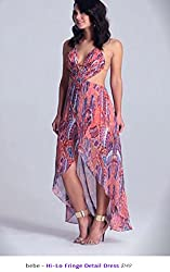 Bebe Hi Low Open Back Maxi Halter Dress