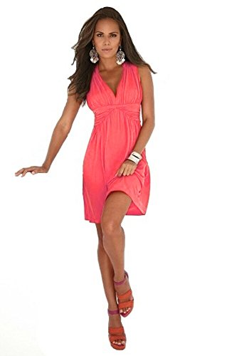 Charm Your Prince Women's Sleeveless Summer Sundress Coral Pink MEDIUM