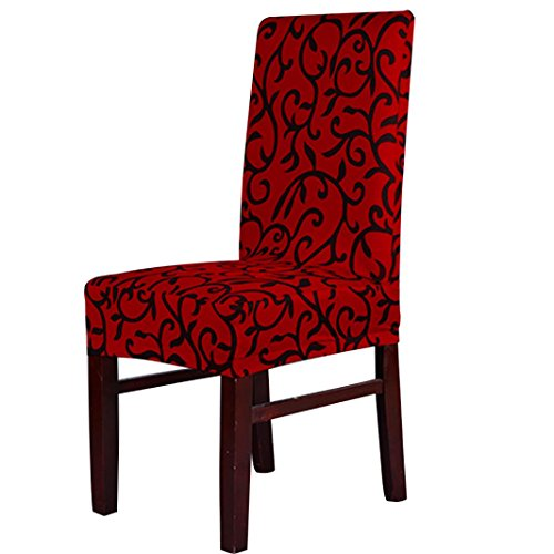 Chair Covers,Leegor 1PC Spandex Stretch Banquet Slipcovers Dining Room Wedding Party Short Chair Covers (Red)