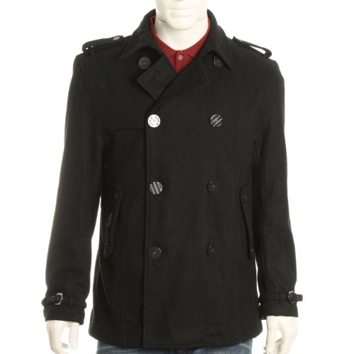 Luke 1977 Mens Hamilton Melton Pea Coat Jacket - Black - XL