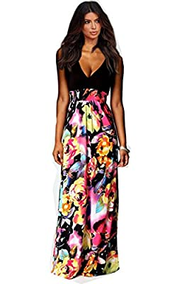 Imvation Womens Maxi Boho Summer Long Skirt Evening Cocktail Party Dress