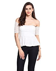 Solid White Polyester Design Net Peplum Top Large