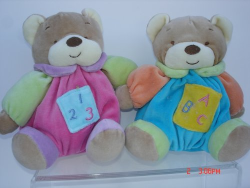 Ultra Soft My First Baby Teddy Bear Toy Rattle Stuffed Animal, 7 Inches Tall, Pink and Blue,2 Pcs Set