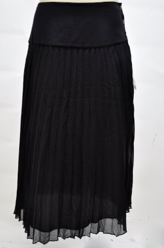 Anne Klein Navy Silk Pleated Drop Waist Skirt
