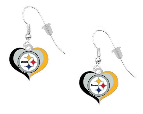 Pittsburgh Steelers Swirl Heart Earrings Pierced at SteelerMania