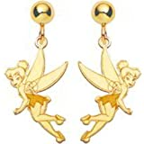14K Gold Disney Tinker Bell Dangle Earrings Jewelry