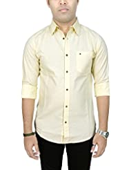 AA' Southbay Men's Butter Yellow Premium Linen Cotton Long Sleeve Solid Party Casual Shirt