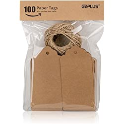 G2PLUS 100 PCS Kraft Paper Gift Tags with String Wedding Brown Rectangle Craft Hang Tags Bonbonniere Favor Gift Tags with Jute Twine 30 Meters Long for Crafts & Price Tags Labels