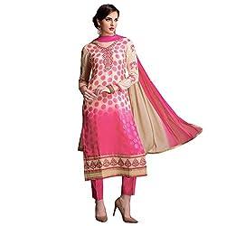 Bhelpuri Women Beige and Pink Brasso Georgette Dress Material