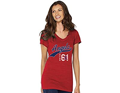 MLB Los Angeles Angels Women's V-Neck Polo Shirt, Small, Red