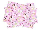 Kidsランチョンマット 2枚セット スタンダードタイプ 水玉模様とスイートくまちゃん(ピンク) 日本製 N3649600