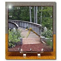 Cheap WhiteOak Photography Nature Scenes – Bridge with white flower at end – Desk Clocks (B00872W9FC)