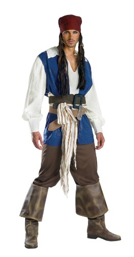 Pirates Of The Carribean Captain Jack Sparrow Costume - Plus (50-52) - DG5101C