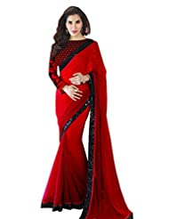 Indian Red Party Wear Saree Embroidery Ethnic Wedding Sari