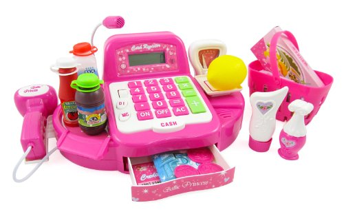 Pink Supermarket Cash Register With Turntable, Barcode Scanner, Weight Scale, Microphone, Calculator, Play Money And Food Shopping Playset For Kids