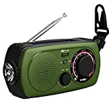 Emergency Weather Radio with Solar and Crank Charger-[Upgraded 2019] NOAA Weather Radio with 2200mAh Emergency Cell Phone Power Bank, Glare Flashlight,SOS Help Flashing Lights and Compass(Green). (Color: Green)