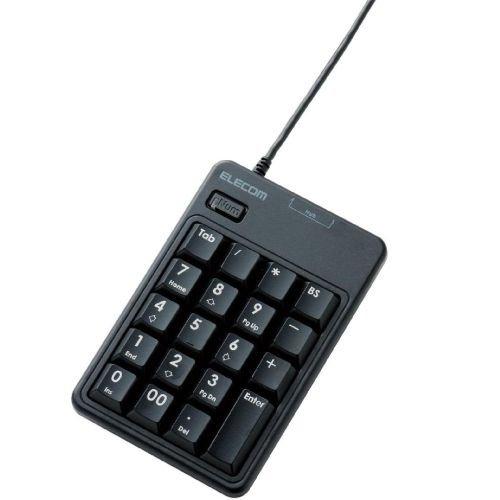 ELECOM テンキーボード USB接続  スタンダード メンブレン 2ポートUSB2.0ハブ付 ブラック TK-TCM010BK