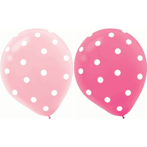 """20 Ct Round Helium Quality 12"""" Pink Polka Dot Balloons front-27704"""
