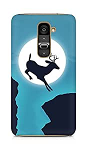 Amez designer printed 3d premium high quality back case cover for LG G2 (Deer jump moon sky creative)