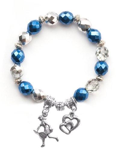 """Tennis Girl"" Girls Tennis Bracelet (Team Colors Navy Blue & Silver)-Small"