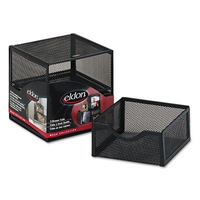 organisation-two-drawer-cube-de-rangement-en-maille-metallique-6-x-6-x-6-noir